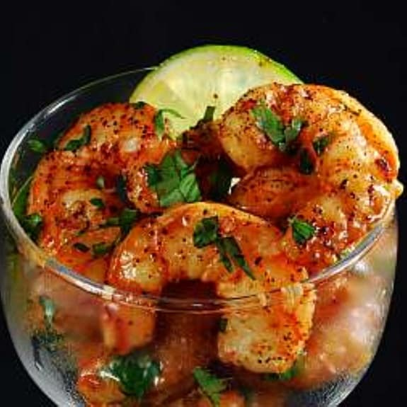 frilled shrimp with Tequila and lime