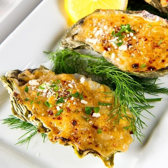 baked oysters with bacon and Parmesan cheese