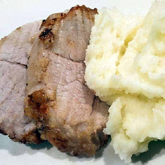 roast pork with mashed potatoes in slow cooker