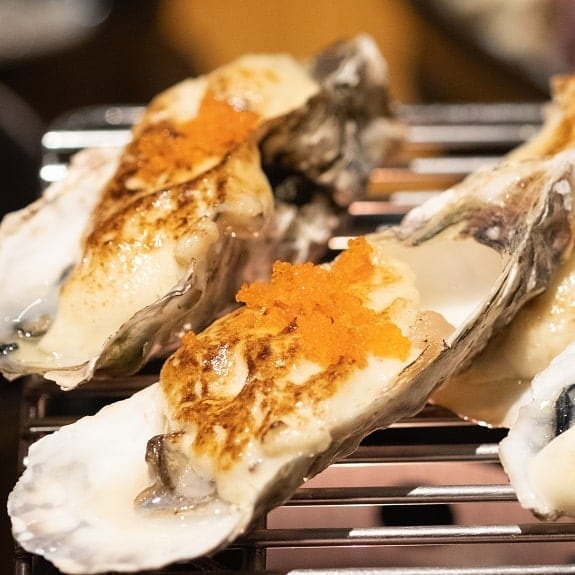 grilled oysters with ginger dressing