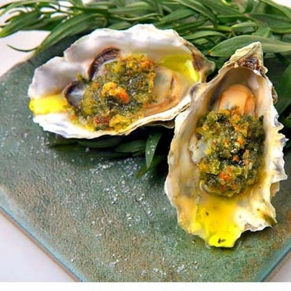 broiled oysters with white wine