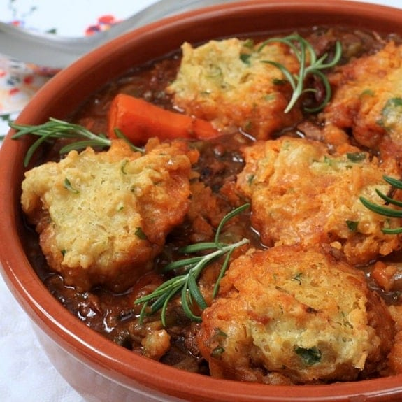 oven baked beef casserole with herby dumplings