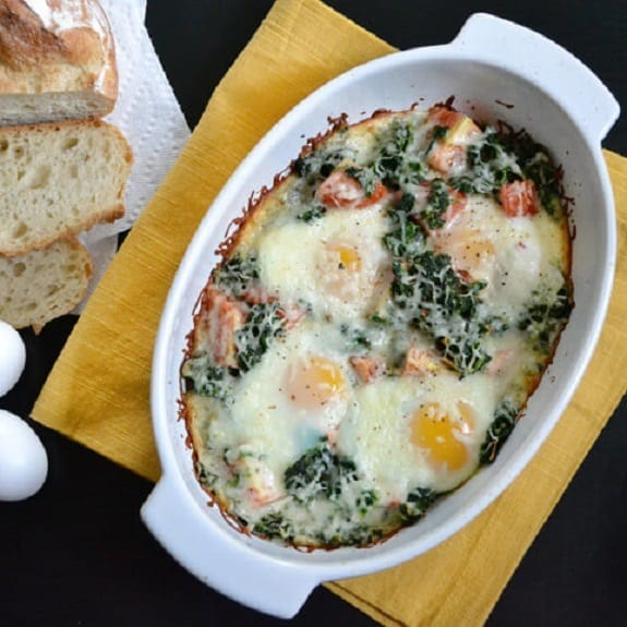oven baked eggs with slmon and spinach