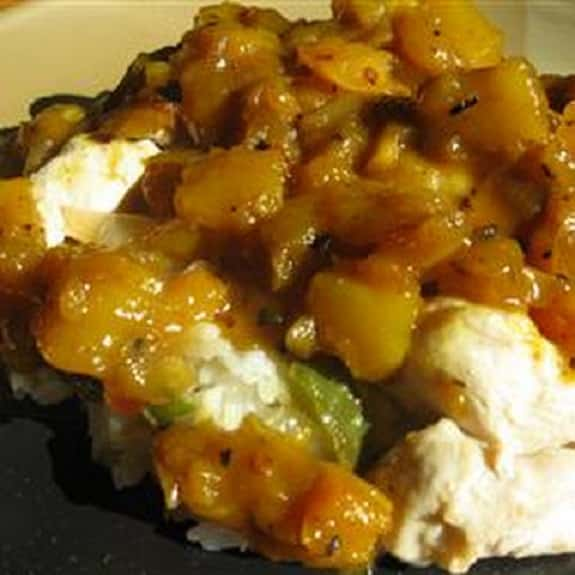 slow cooker pork with pienapple and mango chutney