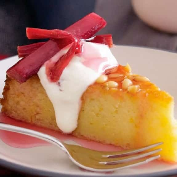 baked orange cheesecake with roasted rhubarb