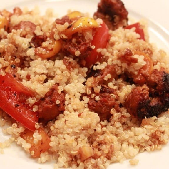 slow cooker quinoa with sausage and peppers