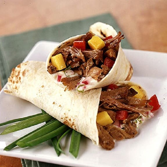slow cooker jerk pork wraps