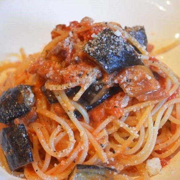 spaghetti with aubergines