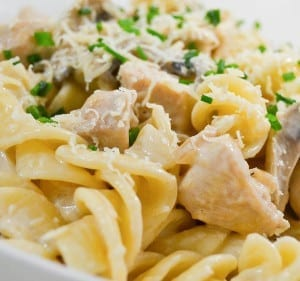 slow cooker chicken and pasta with mushroom sauce