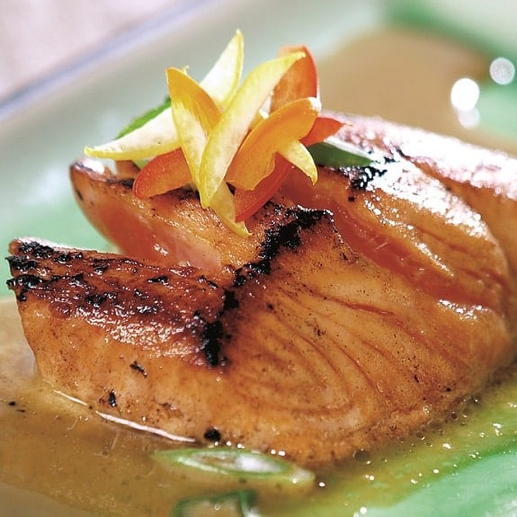 honey-glazed salmon fillet