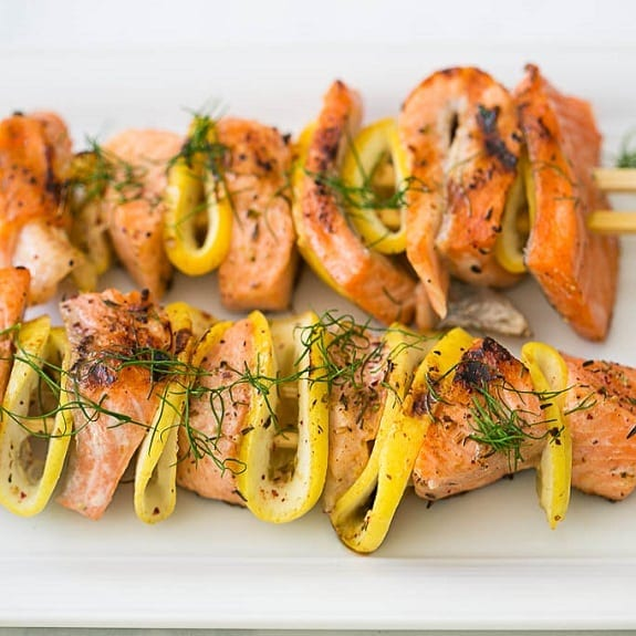 lemon and dill fish kabobs