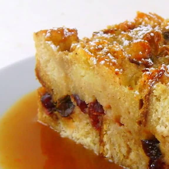 cranberry-orange bread pudding