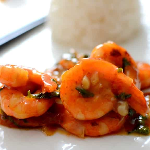 fried shrimp in spicy orange sauce