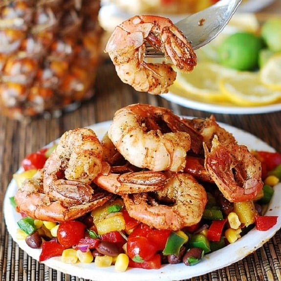 fried shrimp with pineapple salsa