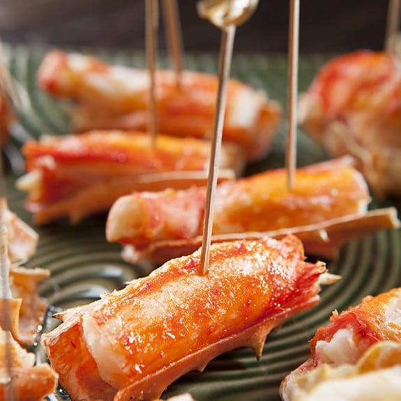 roasted crab legs with drawn butter