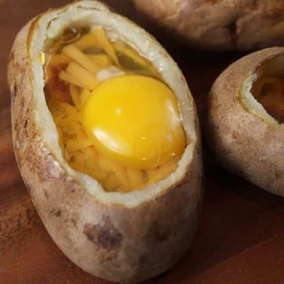 oven baked egg-stuffed potatoes