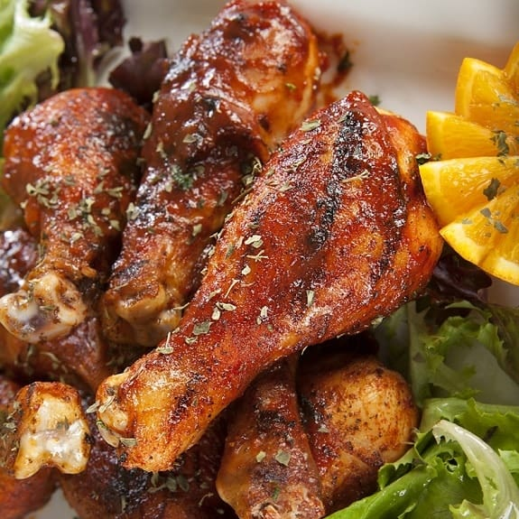 grilled drumsticks with honey-chipotle sauce