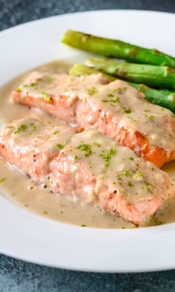 pressure cooker salmon steaks with yogurt tartar sauce