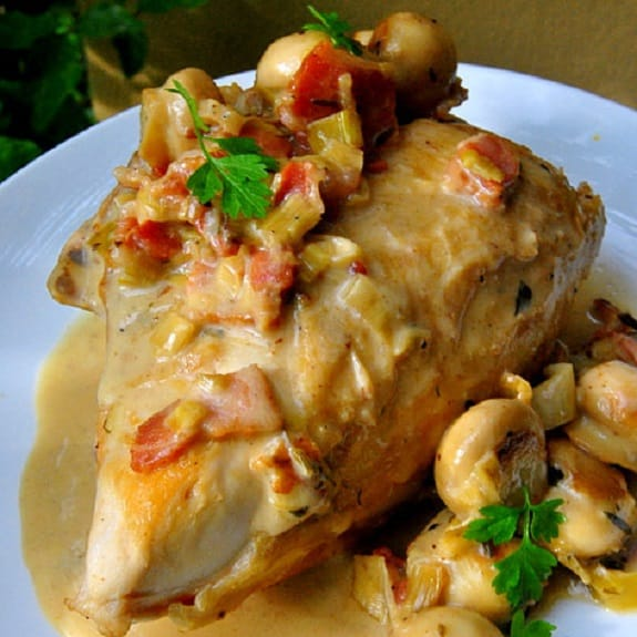 Oven Baked Chicken and Bacon with Wine and Tarragon Sauce - Magic ...