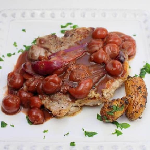 Pressure Cooker Pork Chops with Sour Cherries - Magic Skillet