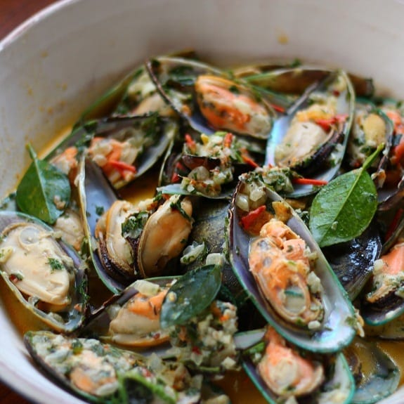 pressure cooker brandied mussels