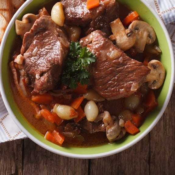 oven baked easy beef bourguignon recipe