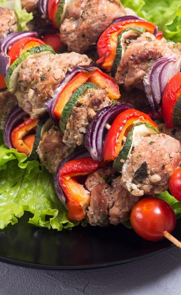 Great grilled beef tenderloin kebab recipe. Marinated beef with vegetables and spices cooked over charcoal grill. #dinner #homemade #beef #kebab #delicious #yumme #grilled