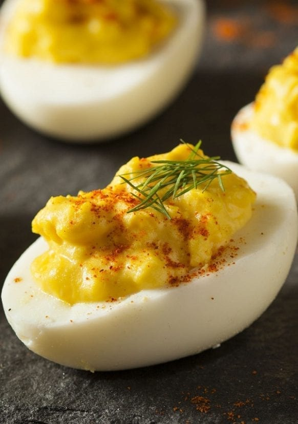 Best stuffed deviled eggs recipe. Ham stuffed egg halves. #appetizers #party #stuffedeggs #dinner #homemade #delicious #yummy