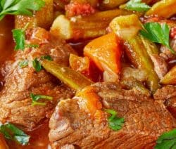 Crock pot hearty beef stew recipe. Cubed beef with vegetables cooked in a slow cooker. Very easy and tasty beef stew recipe. #slowcooker #crockpot #beefstew #hearty #dinner #homemade #yummy
