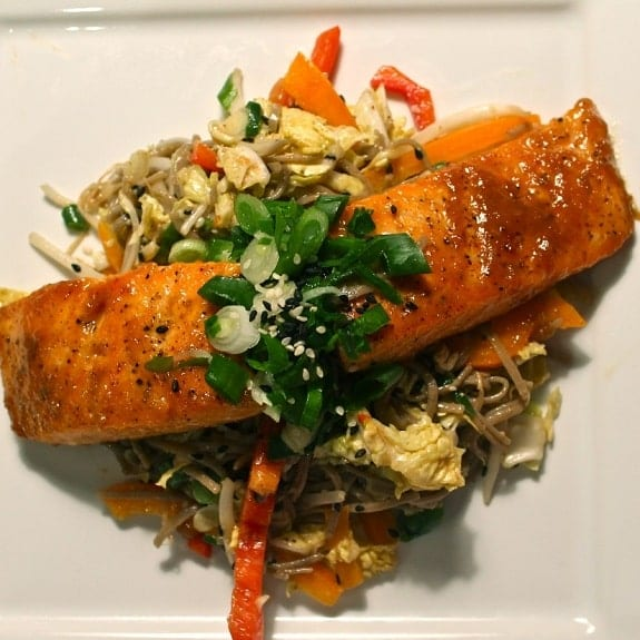 japanese glazed salmon fillet with soba&julienned vegetables