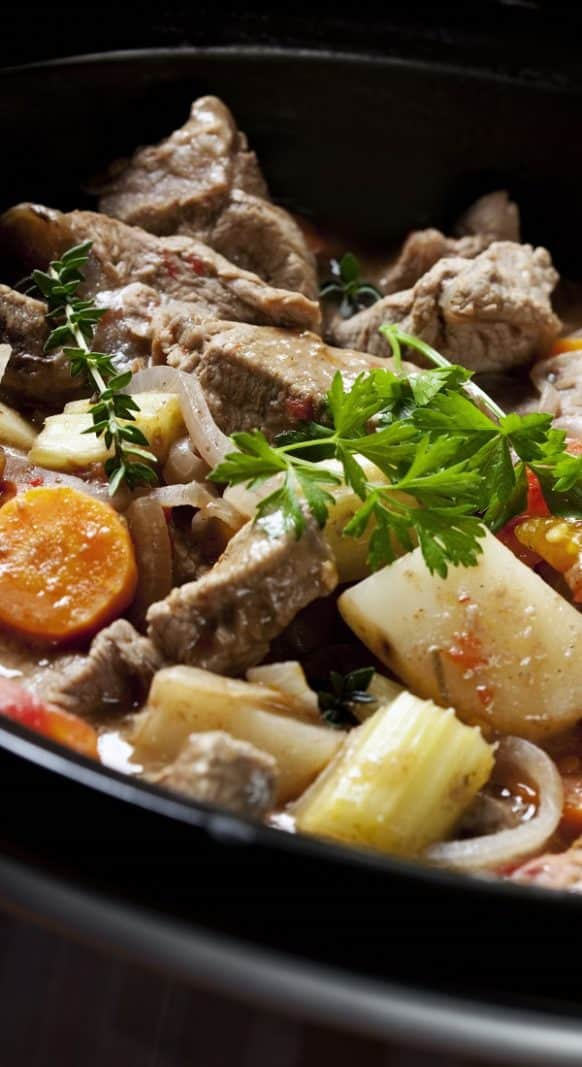 Oven cooked beef stew. Cubed beef with vegetables cooked in a halogen (turbo) oven. Very easy and tasty stew recipe. #turbooven #halogenoven #oven #dinner #beef #stew #homemade #delicious