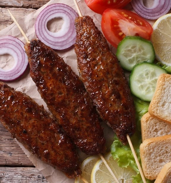 oven grilled lamb kebab