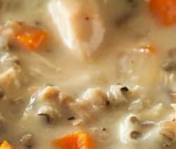 Slow cooker chicken with wild rice soup. Very delicious creamy chicken and wild rice soup cooked in a slow cooker. #slowcooker #crockpot #chicken #healthy #lowcarb #dinner #homemade #recipe