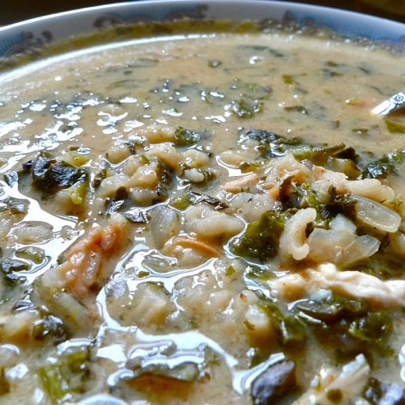 slow cooker chicken soup with spinach and rice