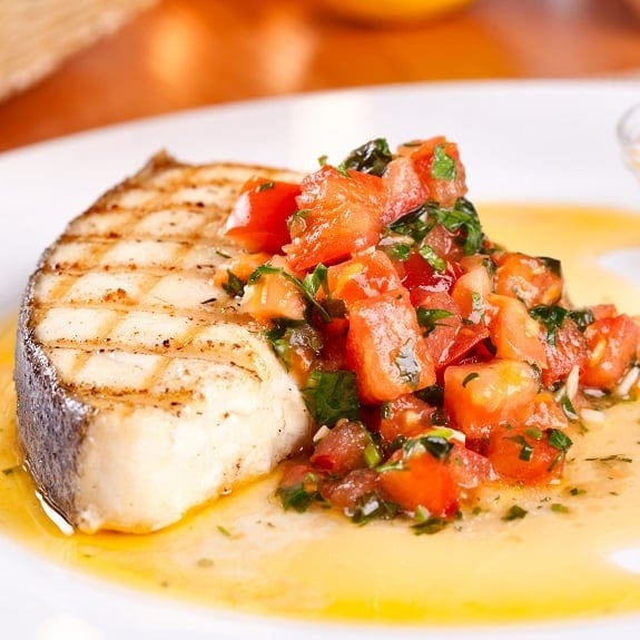 grilled halibut with tomato vinaigrette