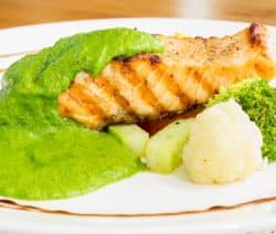 grilled salmon fillets with pesto sauce