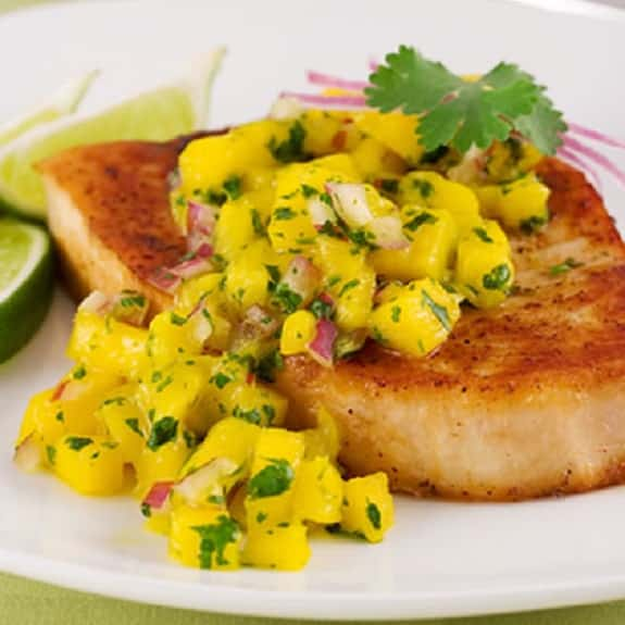 oven baked swordfish with mango and ginger sauce