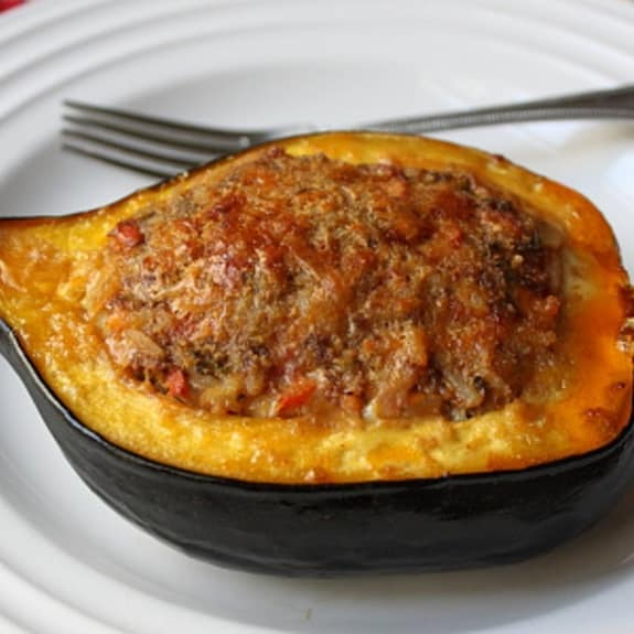 stuffed squash with minced lamb