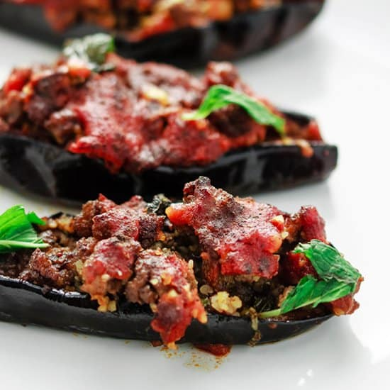 stuffed eggplants with mint