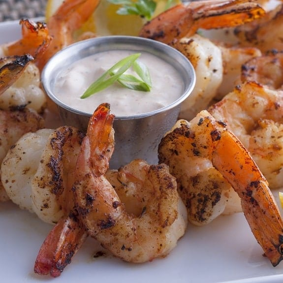 grilled shrimp with aioli sauce