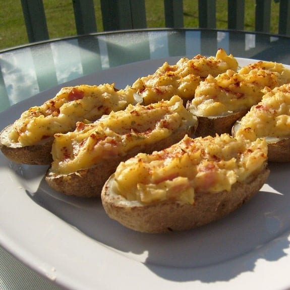 ham-stuffed potatoes