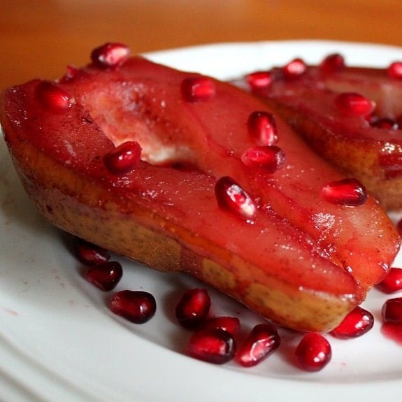 oven baked pears with grenadine syrupe