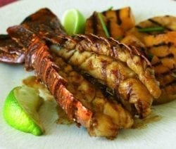 grilled lobster taila with tropical fruits