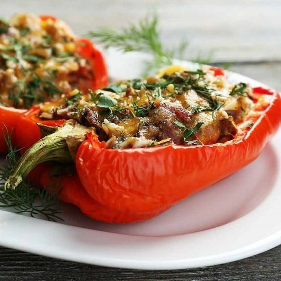 oven cooked spicy stuffed peppers
