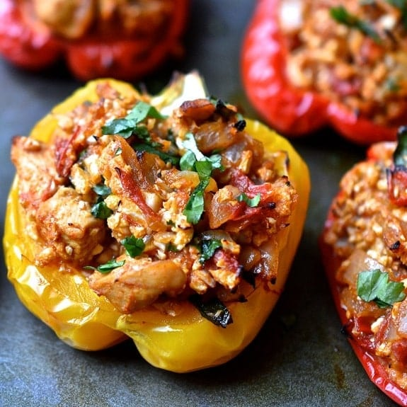 smoked chicken-stuffed pepper
