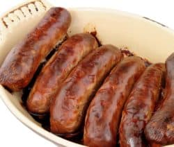 broiled knockwurst in beer
