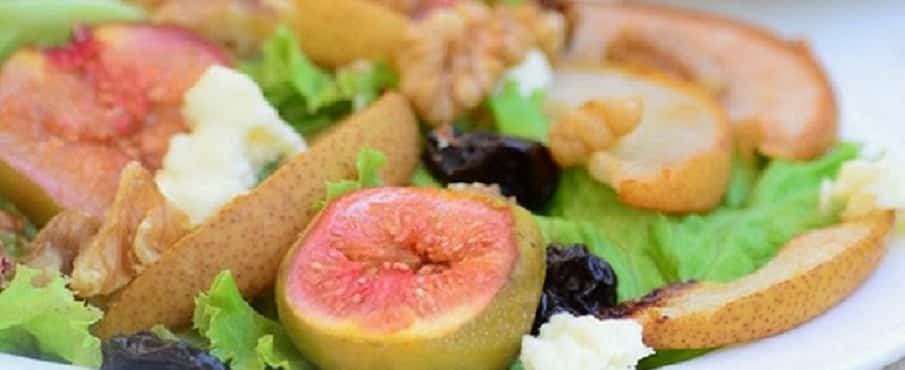 Oven Roasted Pear anf Fig Salad with Feta Cheese