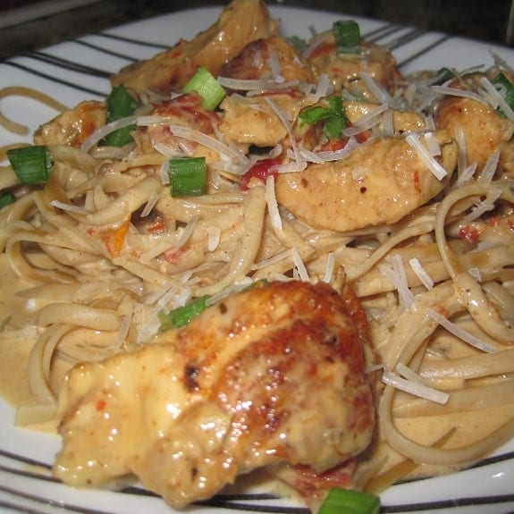cajun chicken with fettuccine alfredo