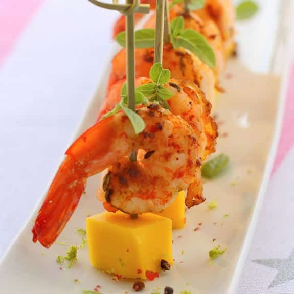 spicy mango shrimp tapas