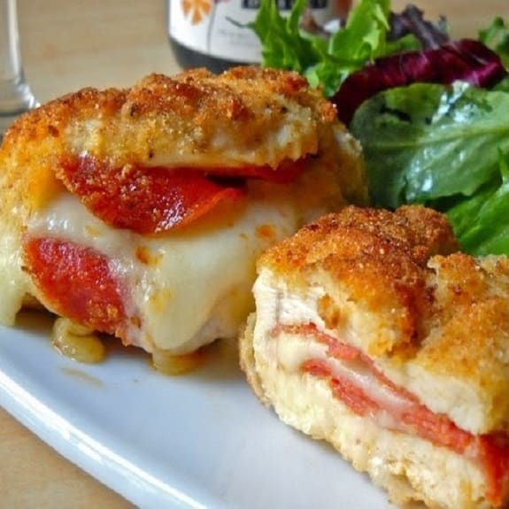 cheese and pepperoni stuffed chicken